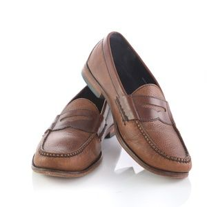 Cole Haan Brown Pebbled Leather Penny Loafers